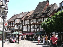 Street with timbered houses in Einbeck