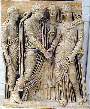 Manus marriage - Statue depiction of Ancient Roman Matrimonium
