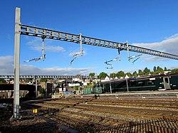 Electrification preparation in Newport railway station (geograph 5867659).jpg