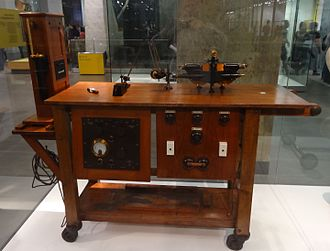Thomas Lewis (cardiologist) - His Electocardiograph machine circa 1930 with wheels so it could be taken onto wards. His machine is now on display at the Science Museum in London.