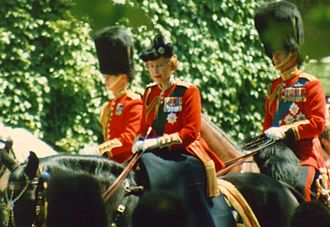 Order of the Crown of India - Elizabeth II, in her uniform as Colonel-in-Chief of the Scots Guards, wears the badge of the order as a medal (first on left). (Trooping the Colour, 1986)