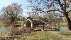 Elizabeth Park (Michigan) - One of the three pedestrian bridges connecting the island to the mainland portion of the park