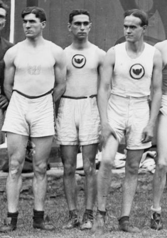 Irish American Athletic Club -  John Eller, Abel Kiviat and John J. Reynolds of the Irish American Athletic Club, posing for a 1912 U.S. Olympic team photo.