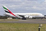 Emirates (A6-EUF) Airbus A380-861 departing Sydney Airport.jpg