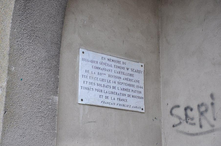 En Memoire du Brigadier General Edmund W Searby, Mousson, Lorraine, France