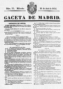 Portada do nº 55 da Gaceta de Madrid (16-abril-1834), onde se publicou o Estatuto Real.