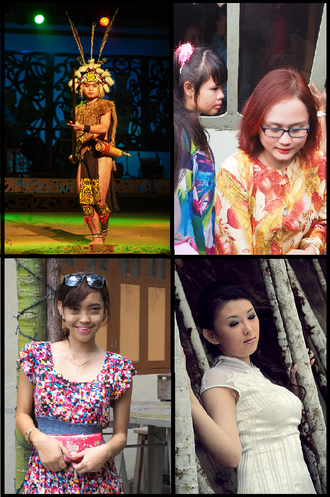 Major ethnic groups in Sarawak. Clockwise from top right: Melanau girls with the traditional Baju Kurung, Sarawakian Chinese woman in her traditional dress of Cheongsam, a Bidayuh girl, and an Iban warrior in his traditional dress. Ethnic groups in sarawak.png