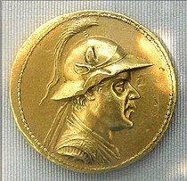 Gold 20-stater of Eucratides, the largest gold coin ever minted in Antiquity. The coin weighs 169.2 grams, and has a diameter of 58 millimeters. It was originally found in Bukhara, and later acquired by Napoleon III. Cabinet des Médailles, Paris.
