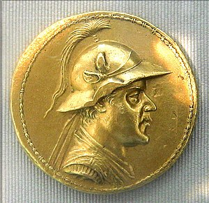 "Bead and reel - Gold 20-stater of Eucratides I within a ""bead and reel"" border. Cabinet des Médailles, Paris."