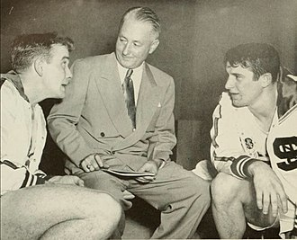 NC State Wolfpack men's basketball - Players Dick Dickey and Sam Ranzino with coach Case in 1950.