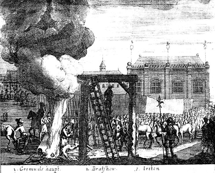 Execution of Cromwell, Bradshaw and Ireton in 1661