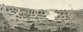 "Second Battle of Charleston Harbor - Photo of a John R. Key painting, based on three half stereos taken by George S. Cook inside Fort Sumter on Sept. 8, 1863 and published in The Photographic History of The Civil War (1911). Note: The famous ""exploding shell"" photo falsely attributed to George Smith Cook is in reality a painting by C.S.A. Lt. John R. Key, based on three half stereos taken by Cook inside Fort Sumter on Sept. 8, 1863. Noted Civil War photo historian and author Bob Zeller of the Center for Civil War photography personally inspected the negative, which is the source for all known ""exploding shell"" prints, and is archived at the Valentine Richmond History Center. The negative had been carefully masked to show the Key painting only and not the parlor table it sat on, nor the three chairs behind it. Francis Miller's experts, in compiling The Photographic History of The Civil War, had obviously overlooked the fact that no camera of the time was capable of taking the wide angle depicted"