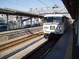 Express Kusatsu of Agatsuma Line at Shibukawa station.jpg