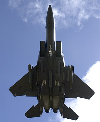 McDonnell Douglas F-15E Strike Eagle - An underside view of an F-15E Strike Eagle with landing gear down