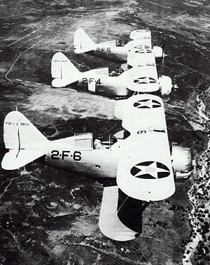 Grumman F2F - Three F2F-1s in service with fighter squadron VF-2B