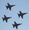 FA-18 Hornets formation flyover during Avalon International Airshow 2011.jpg