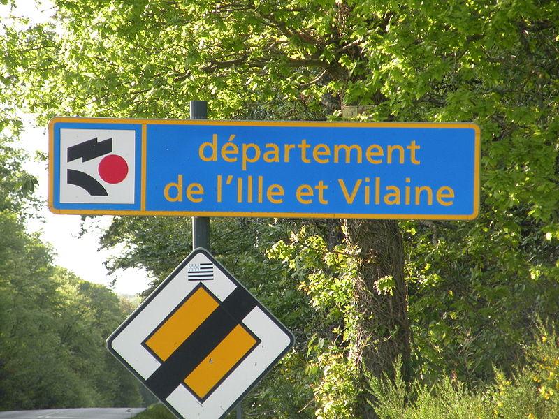 Panneau d'entrée dans le département d'Ille-et-Vilaine à Martigné-Ferchaud, sur la RD94.