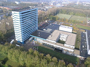 TU Delft Faculty of Aerospace Engineering - The Faculty of Aerospace Engineering of the Delft University of Technology as seen from the sky.