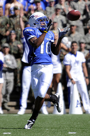 2010 Air Force Falcons football team - Falcons wide receiver Mikel Hunter pulls in a pass for a touchdown during the Air Force–BYU game.