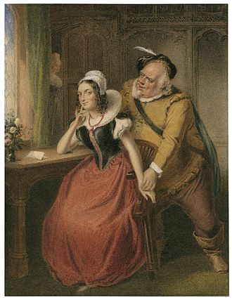 The Merry Wives of Windsor - A watercolor of Act III, Scene iii: Falstaff wooing Mistress Ford.