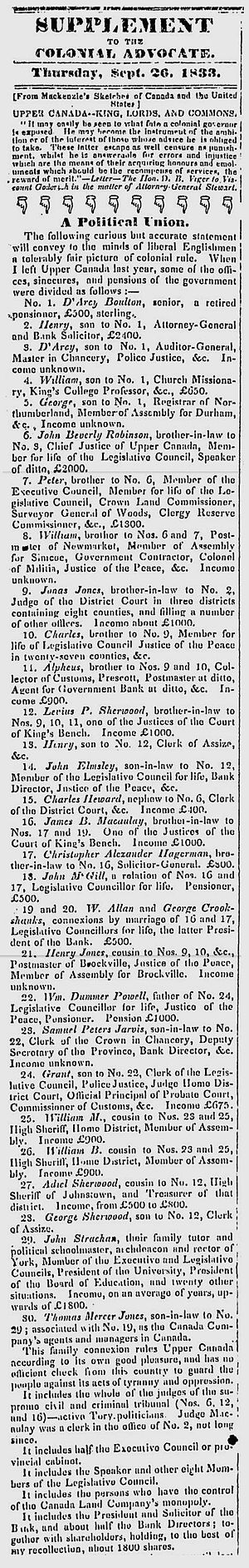 Colonial Advocate - Listing of the Family Compact members in the government and their relations, by William Lyon Mackenzie, Sept. 19, 1833 in the Colonial Advocate