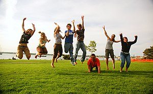 Family group jumping