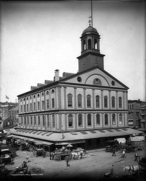 faneuil hall, boston, 1830, black&white