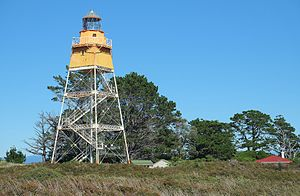 Farewell Spit - The automated lighthouse at the end of Farewell Spit.