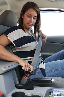 Seat belt Vehicle safety device to protect against injury during collisions
