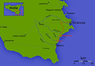 Sicilian Expedition - Map of Athenian retreat from Syracuse