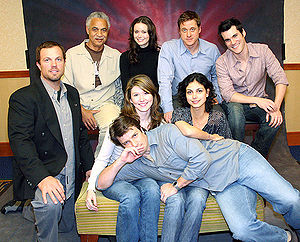Firefly (TV series) - (From left to right, top to bottom) Ron Glass, Summer Glau, Alan Tudyk, Sean Maher, Adam Baldwin, Jewel Staite, Morena Baccarin, and Nathan Fillion: eight of the nine main actors in 2005 (not pictured: Gina Torres)