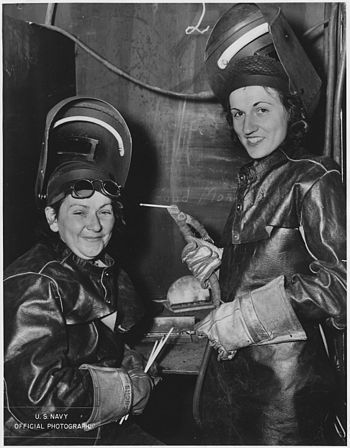 First women to attain rate of Electric Welder, 3rd class, were Alyce R. Sawyers (on the left) and Josephine L.... - NARA - 296887.jpg