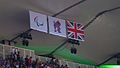 Flags of the Paralympics symbol, the London 2012 logo and the Union Jack (9375724299).jpg