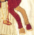 Fleeing bayeux tapestry (cropped to show details of Bayeux Stitch).png