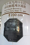 Flood depth record of Typhoon Nari, MRT Taipei Main Station 20190811a.jpg