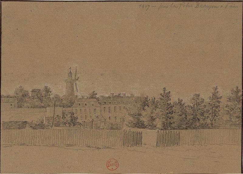 Fichier:Folie Beaujon - 1807 - Communs et moulin.jpg