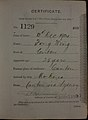 Fong Wing Auckland Chinese poll tax certificate butts Certificate issued at Auckland.jpg