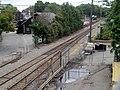 Former Beaver Brook station platform and Massasoit Street from US 20 bridge, July 2015.JPG