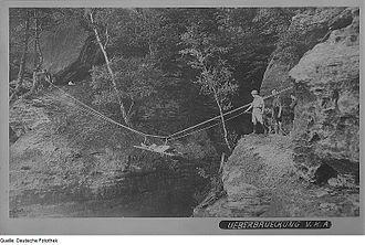 Tyrolean traverse - Tyrolean traverse used as emergency evacuation. Saxon Switzerland, 1926