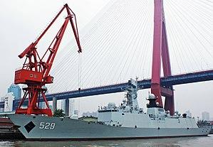 Type 054A frigate - Image: Frégate 529 Huangpu river Shanghai (cropped)
