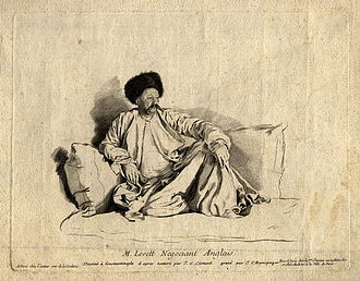Levant Company - Portrait in Turkish costume of Turkey merchant Francis Levett (1700–1764), chief representative of the Levant Company at Constantinople 1737–1750. After the painting by Jean-Étienne Liotard in the Louvre Museum. National Portrait Gallery, London.