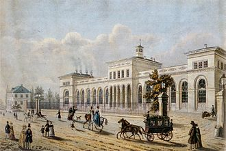 Bethmanns and Rothschilds - 1850 lithograph of the Frankfurt terminus of the Taunus railroad, a venture jointly financed by Bethmanns and Rothschilds together with the bankers Grunelius, DuFay, John, and Borgnis. Opened in 1840, it was one of Germany's first steam railroads.