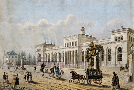 The Frankfurt terminus of the Taunus railroad, financed by the Rothschilds. Opened in 1840, it was one of Germany's first railroads. Frankfurt Taunusbahnhof 1850.jpg