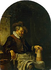 Old man with a pipe and a tankard