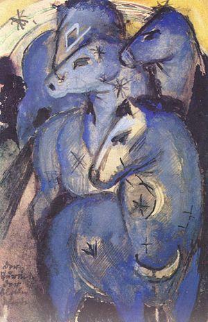 The Tower of Blue Horses - 1912/13 sketch on a postcard to Else Lasker-Schüler