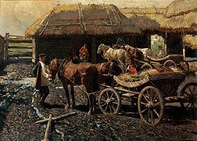 Franz Roubaud Poststation im Kaukasus 1913