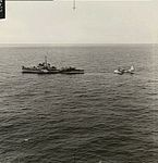 Free French destroyer and 461 Squadron RAAF Sunderland in Bay of Biscay AWM SUK10983.jpg