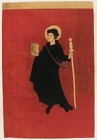 Fridolin of Säckingen - Saint Fridolin depicted on the banner of Glarus, according to tradition the banner used in the Battle of Näfels (1388)