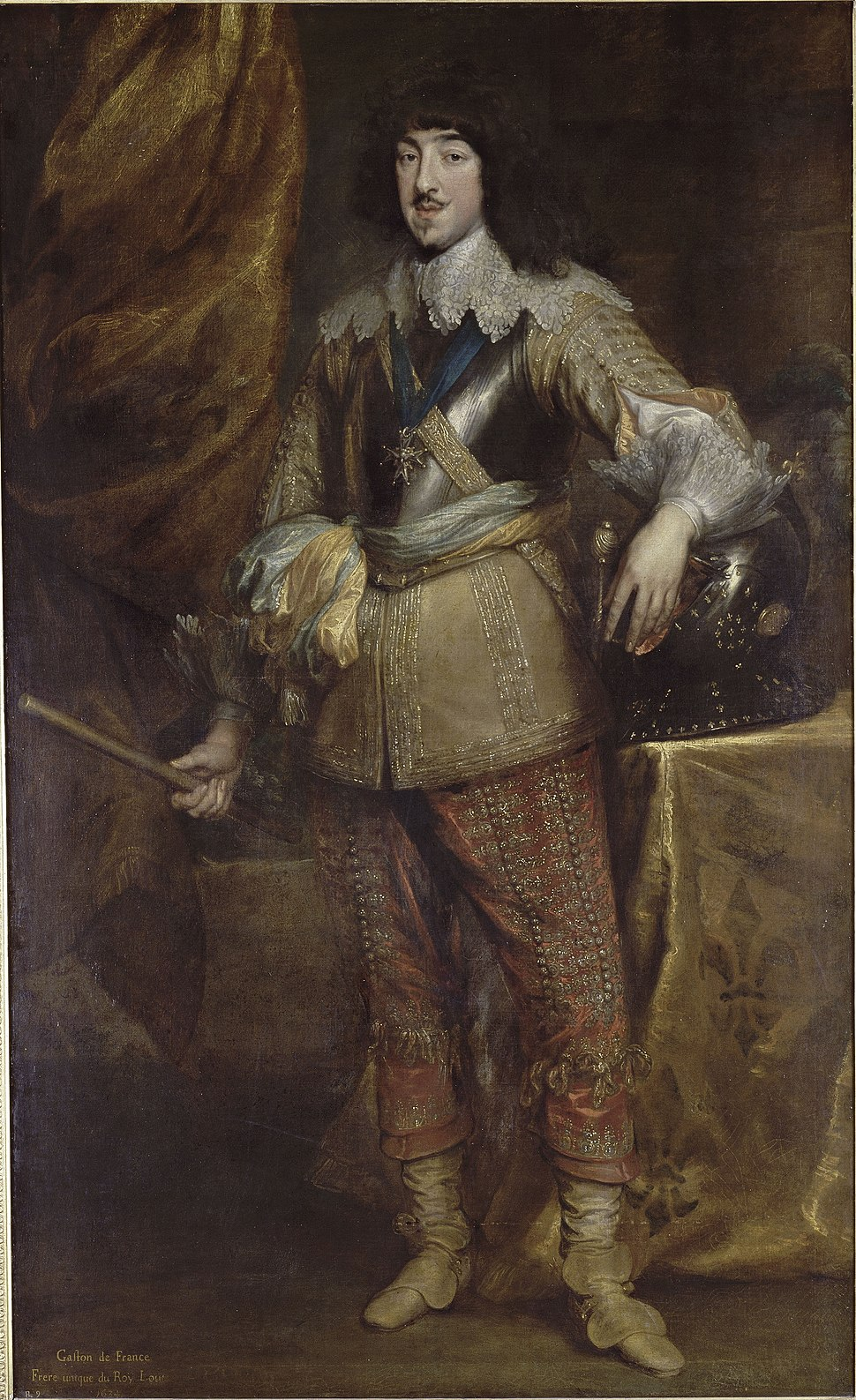 Full length portrait painting of Gaston of France, Duke of Orléans in 1634 by Anthony van Dyck (Musée Condé)