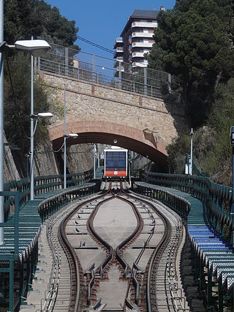 Vallvidrera Funicular - A funicular car with the line's passing loop in the foreground.